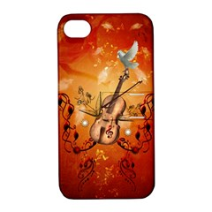 Violin With Violin Bow And Dove Apple Iphone 4/4s Hardshell Case With Stand by FantasyWorld7