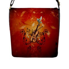 Violin With Violin Bow And Dove Flap Messenger Bag (l)  by FantasyWorld7