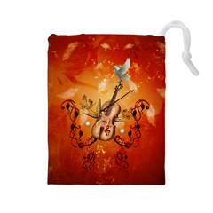 Violin With Violin Bow And Dove Drawstring Pouches (large)