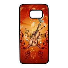 Violin With Violin Bow And Dove Samsung Galaxy S7 Black Seamless Case by FantasyWorld7