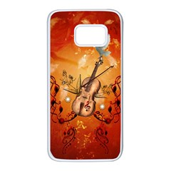 Violin With Violin Bow And Dove Samsung Galaxy S7 White Seamless Case by FantasyWorld7