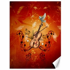 Violin With Violin Bow And Dove Canvas 36  X 48   by FantasyWorld7