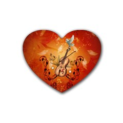 Violin With Violin Bow And Dove Heart Coaster (4 Pack)  by FantasyWorld7
