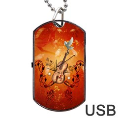 Violin With Violin Bow And Dove Dog Tag Usb Flash (one Side) by FantasyWorld7