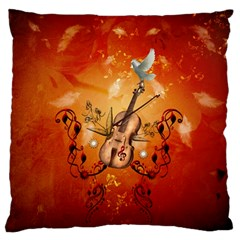 Violin With Violin Bow And Dove Standard Flano Cushion Case (one Side) by FantasyWorld7