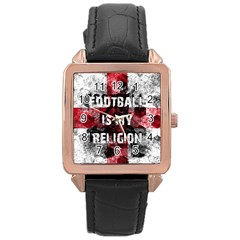 Football Is My Religion Rose Gold Leather Watch  by Valentinaart