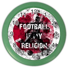 Football Is My Religion Color Wall Clocks by Valentinaart
