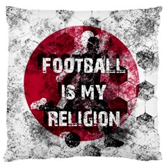 Football Is My Religion Large Flano Cushion Case (two Sides)