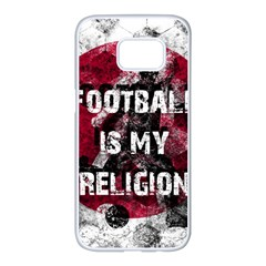 Football Is My Religion Samsung Galaxy S7 Edge White Seamless Case by Valentinaart