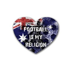 Football Is My Religion Rubber Coaster (heart)  by Valentinaart