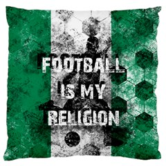 Football Is My Religion Large Flano Cushion Case (one Side) by Valentinaart