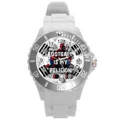 Football Is My Religion Round Plastic Sport Watch (l) by Valentinaart