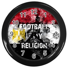 Football Is My Religion Wall Clocks (black) by Valentinaart