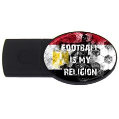 Football Is My Religion Usb Flash Drive Oval (4 Gb) by Valentinaart