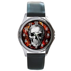 Skull Round Metal Watch