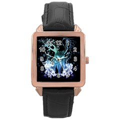 Amazing Wolf With Flowers, Blue Colors Rose Gold Leather Watch  by FantasyWorld7