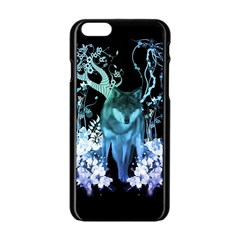 Amazing Wolf With Flowers, Blue Colors Apple Iphone 6/6s Black Enamel Case by FantasyWorld7