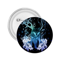 Amazing Wolf With Flowers, Blue Colors 2 25  Buttons by FantasyWorld7