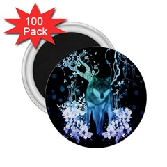 Amazing Wolf With Flowers, Blue Colors 2 25  Magnets (100 Pack)  by FantasyWorld7