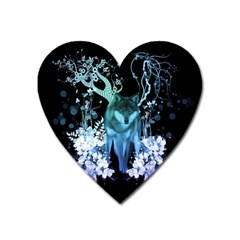 Amazing Wolf With Flowers, Blue Colors Heart Magnet by FantasyWorld7