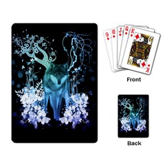 Amazing Wolf With Flowers, Blue Colors Playing Card by FantasyWorld7