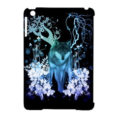 Amazing Wolf With Flowers, Blue Colors Apple Ipad Mini Hardshell Case (compatible With Smart Cover) by FantasyWorld7