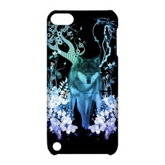 Amazing Wolf With Flowers, Blue Colors Apple Ipod Touch 5 Hardshell Case With Stand by FantasyWorld7