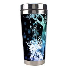 Amazing Wolf With Flowers, Blue Colors Stainless Steel Travel Tumblers by FantasyWorld7