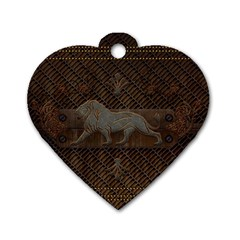 Wonderful Steampunk Lion With Floral Elements Dog Tag Heart (one Side) by FantasyWorld7