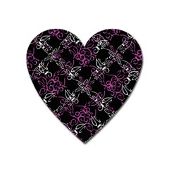 Dark Intersecting Lace Pattern Heart Magnet by dflcprints