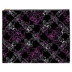 Dark Intersecting Lace Pattern Cosmetic Bag (xxxl)  by dflcprints