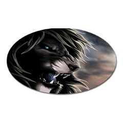 Angry Male Lion Digital Art Oval Magnet