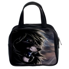 Angry Male Lion Digital Art Classic Handbags (2 Sides)