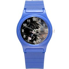 Angry Male Lion Digital Art Round Plastic Sport Watch (s) by Samandel