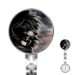 Angry Male Lion Digital Art Stainless Steel Nurses Watch