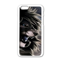 Angry Male Lion Digital Art Apple Iphone 6/6s White Enamel Case by Samandel