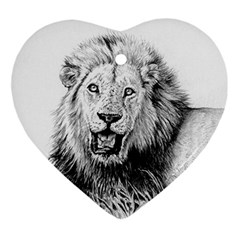 Lion Wildlife Art And Illustration Pencil Ornament (heart) by Samandel