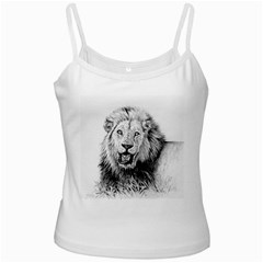 Lion Wildlife Art And Illustration Pencil White Spaghetti Tank by Samandel