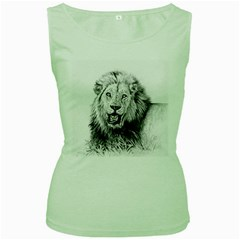 Lion Wildlife Art And Illustration Pencil Women s Green Tank Top by Samandel