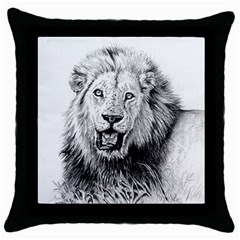Lion Wildlife Art And Illustration Pencil Throw Pillow Case (black) by Samandel