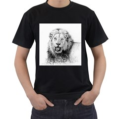 Lion Wildlife Art And Illustration Pencil Men s T Shirt (black) (two Sided)
