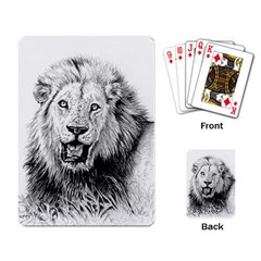 Lion Wildlife Art And Illustration Pencil Playing Card by Samandel