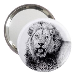 Lion Wildlife Art And Illustration Pencil 3  Handbag Mirrors