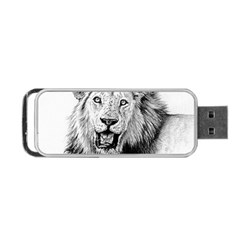Lion Wildlife Art And Illustration Pencil Portable Usb Flash (one Side) by Samandel
