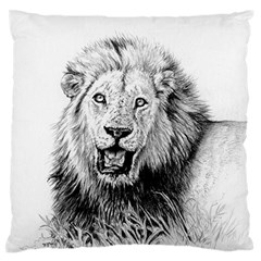 Lion Wildlife Art And Illustration Pencil Large Flano Cushion Case (two Sides) by Samandel