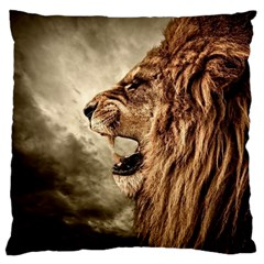 Roaring Lion Large Flano Cushion Case (one Side) by Samandel