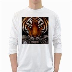 The Tiger Face White Long Sleeve T Shirts by Samandel