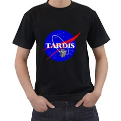 Tardis Nasa Parody Men s T Shirt (black) (two Sided)