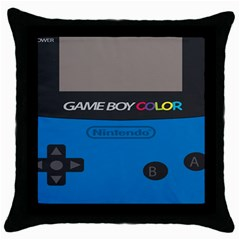 Game Boy Colour Blue Throw Pillow Case (black) by Samandel