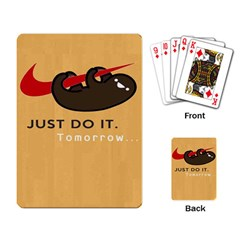 Sloth Just Do It Tomorrow Playing Card by Samandel